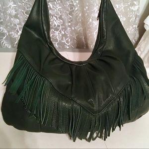 Handbags - Large green leather Crossbody or Shoulder Bag